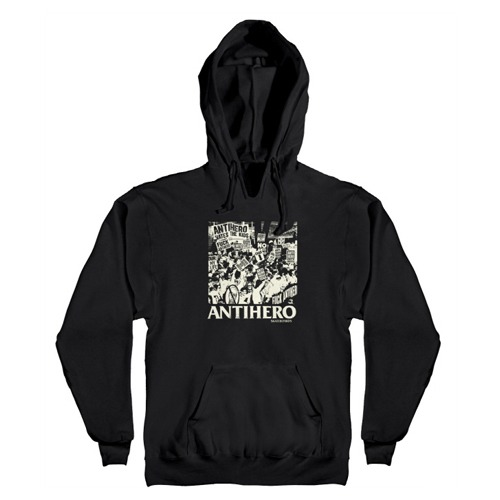 [Anti Hero] PROTEST Pullover Hooded Sweatshirt - BLACK / WHITE Discharge Print