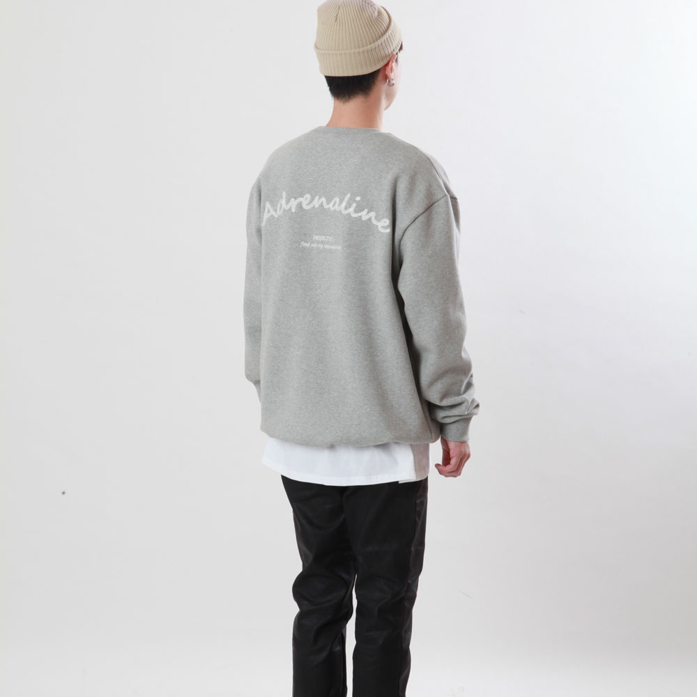 [Double adrenaline syndrome]chain back-point sweatshirt(grey)