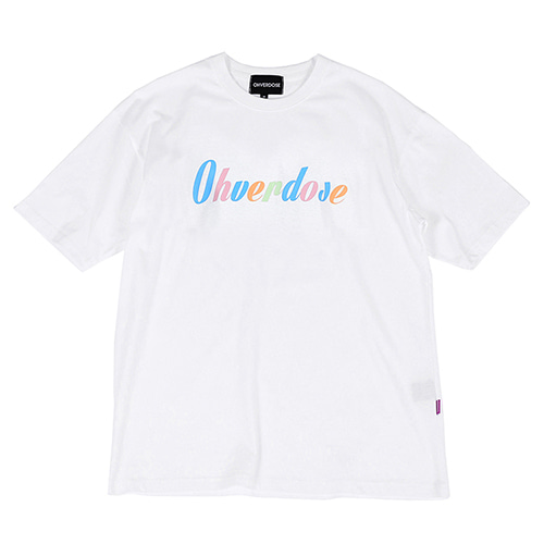 [OHVERDOSE]OVER-FIT MULTI COLORS LOGO TEE WHITE