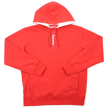Contrast Placket Hooded - Red