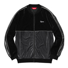 2 Tone Velour Zip Up - Black