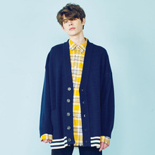 [HEICH BLADE] LINE COLORING LOOSE FIT CARDIGAN - NAVY