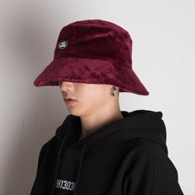 [Double adrenaline syndrome]Oversized fur buckethat-Burgundy