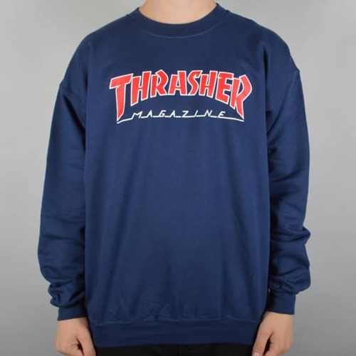 Skate Mag Outlined Crewneck - Navy