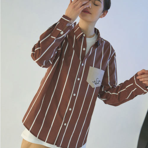 [엠지아이]MGI brown tailored stripe shirts