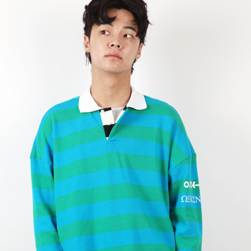 [weksnoop] STRIPE OVERFIT SHIRTS - BLUE+GREEN