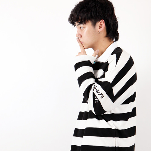 [weksnoop] STRIPE OVERFIT PK SHIRT - BLACK+WHITE