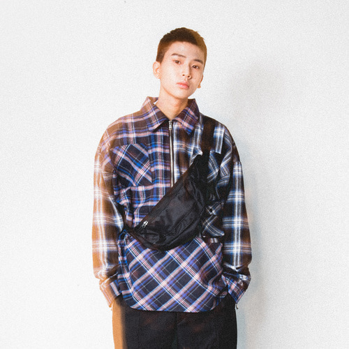 [Realization]Pullover Zipper Shirts-BLUE