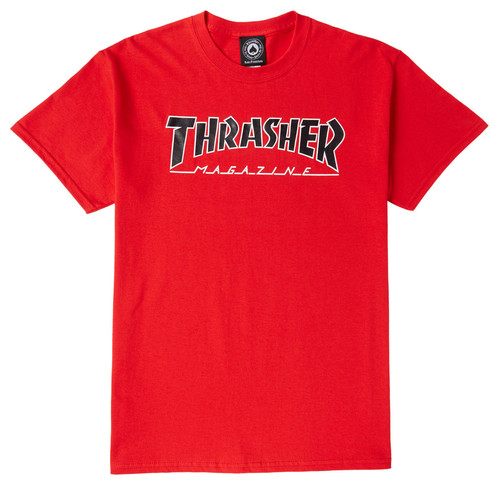 [Thrasher] OUTLINED S/S T-Shirts - Red