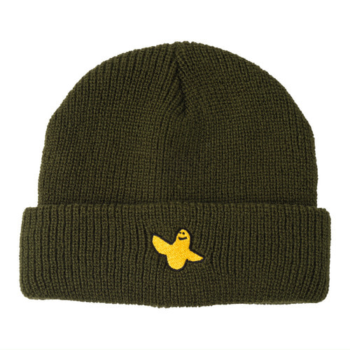 [Krooked] YG BIRD EMB CUFF BEANIE - DARK ARMY