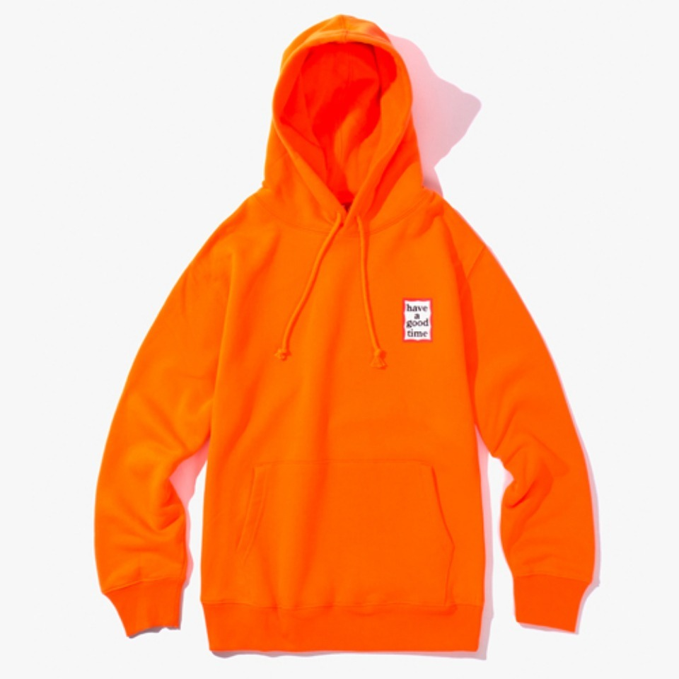 [Have a good time] MINI FRAME PULLOVER HOODIE - NEON ORANGE