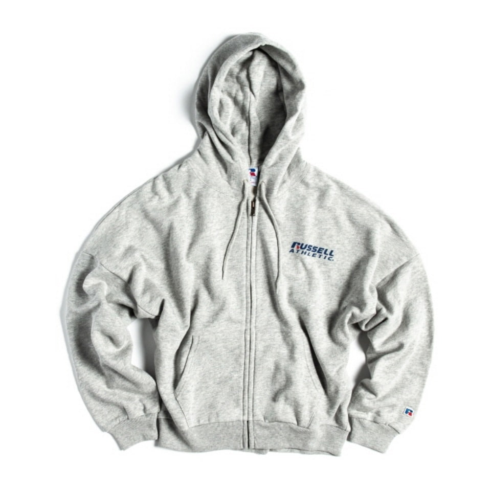 [RUSSELL ATHLETIC] BOOKSTORE SWEAT BAT-WING ZIP UP HOODIE (WOMEN'S) - H.GREY