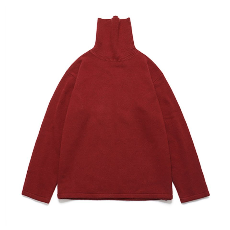 [LAFUDGESTORE] (Unisex)Cashmere Wool Polo Neck Knit_Poppy Red