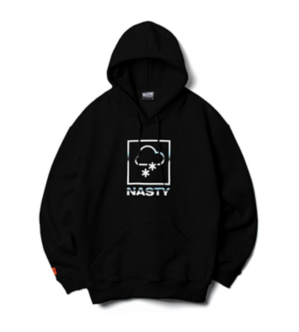 [NP] METAL LOGO OVERSIZED HOODIE BLACK (NP18A054H)