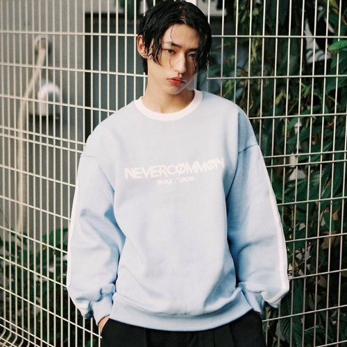 [NEVERCOMMON] logo line mtm - light blue