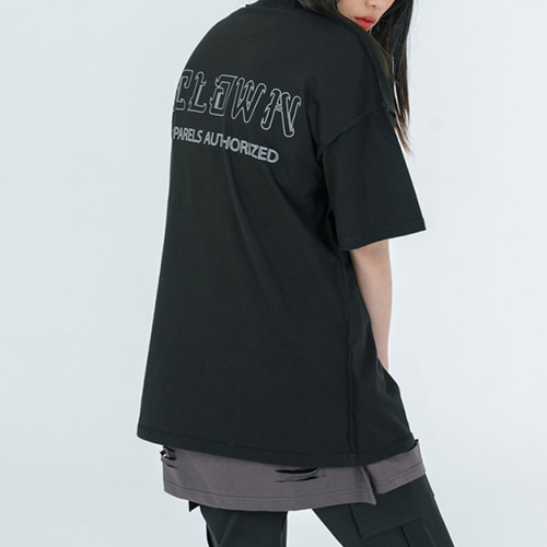 [A.Clown]Reversed 3M Reflective Scotch Pocket Half-Tee BLACK