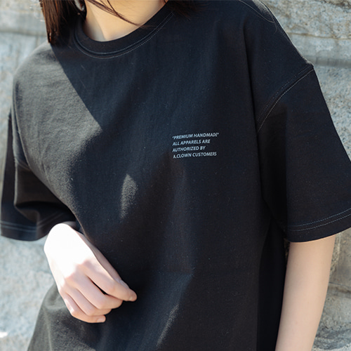 [A.Clown]Semi-Tone Stitch Half-Tee BLACK(그레이스티치)
