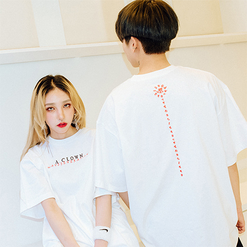[A.Clown]Wave Lettering Half-Tee WHITE
