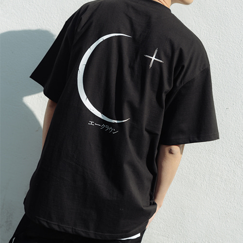 [A.Clown]Crescent Half-Tee BLACK