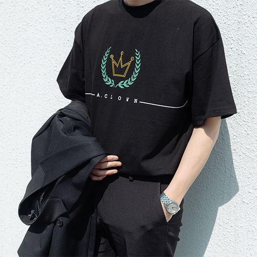 [A.Clown]ACL Crown Logo Half-Tee BLACK