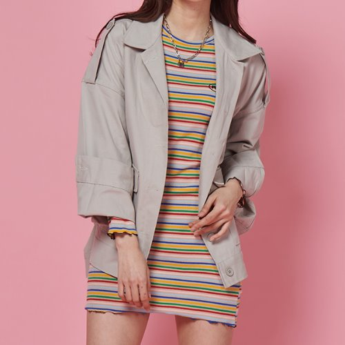 FR STRIPE SLIM DRESS - BEIGE STRIPE