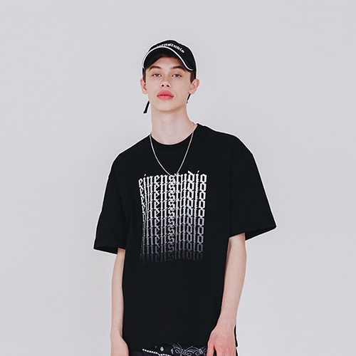 [EINEN]Old Logo Gradation T-Shirts Black