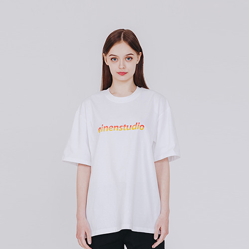 [EINEN]Basic Logo Gradation T-Shirts White