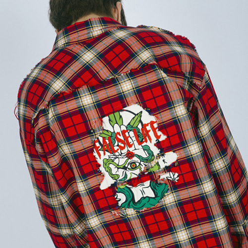 [Weksnoop] Marihuana Check Shirt - Red