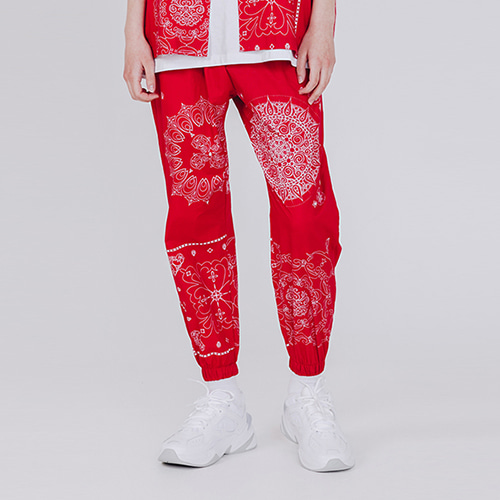 [EINEN]Bandana Jogger Pants Red