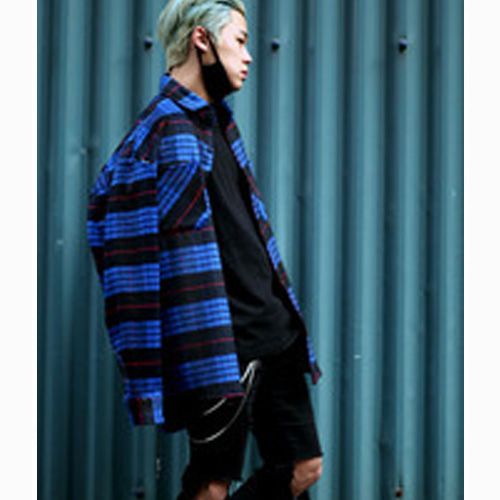 [Weksnoop]Flannel shirt - BLUE
