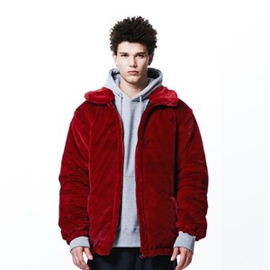 [OVERTHEONE][065] SLOGAN FUR HEAVY JACKET (RED)