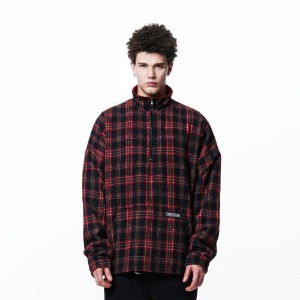 [OVERTHEONE][108] CHECK PATTERN ANORAK ZIP (RED)