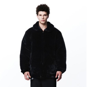 [OVERTHEONE][065] SLOGAN FUR HEAVY JACKET (BLACK)