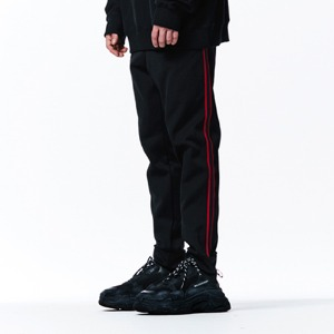 [OVERTHEONE][042] RED LINE BLACK JOGGER PANTS