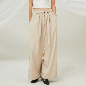 [FLARE] Smocking String Wide Pants (FL-216_Beige)