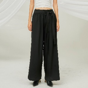 [FLARE] Smocking String Wide Pants (FL-216_Black)