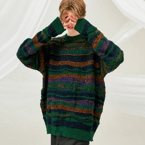 [FLARE] 4mix over knit Sweater (FU-147_Green Multi)