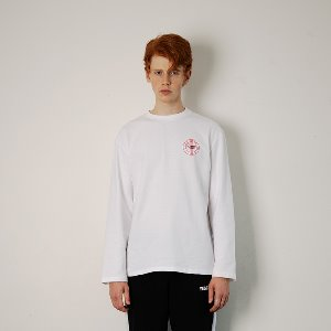 [YESEASY]  CIRCLE LOGO LONGSLEEVE - WHITE