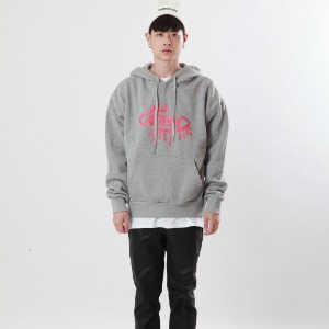 [Double adrenaline syndrome]oval logo bloody hoodie(grey)
