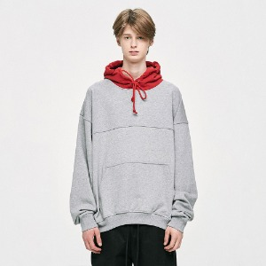 [EXO 첸 착용 / AB6IX 전웅 착용] [D.PRIQUE] Contrast Hoodie - Red/Grey