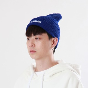 [Double adrenaline syndrome]side-washing long beanie(blue)