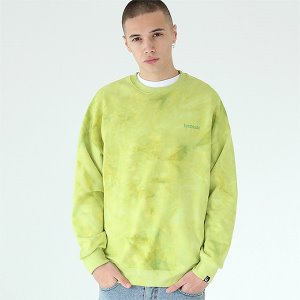 [TENBLADE] Tie-dye basic logo sweat shirt-yellow-green
