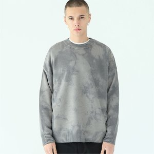 [TENBLADE] Loose fit tie-dye knit-gray