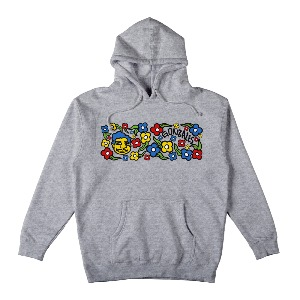 [Krooked] SWEATPANTS Pullover Hooded Sweatshirt - HEATHER GREY/MULTI-COLOR 53123036A
