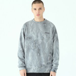 [TENBLADE] Tie-dye basic logo sweat shirt-gray