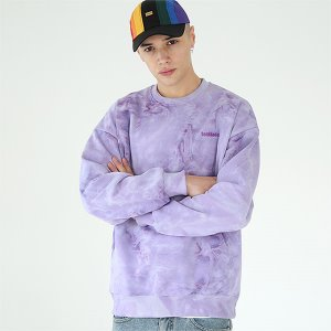 [TENBLADE] Tie-dye basic logo sweat shirt-purple