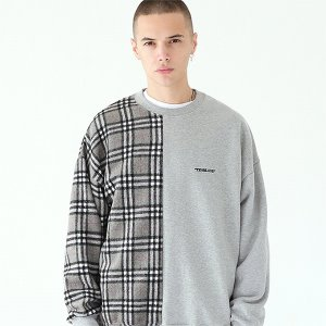 [TENBLADE] Serif logo check sweat shirt-gray