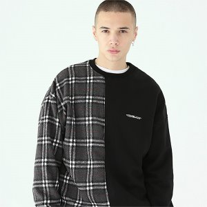[TENBLADE] Serif logo check sweat shirt-black