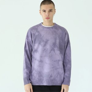 [TENBLADE] Loose fit tie-dye knit-purple