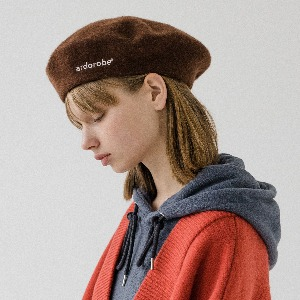 [ARDOROBE] LOGO EMBROIDERY WOOL BERET AAC193002-BN
